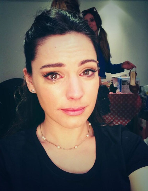 Kelly Brook crying on the set of new movie Taking Stock, London, 2 July 2013