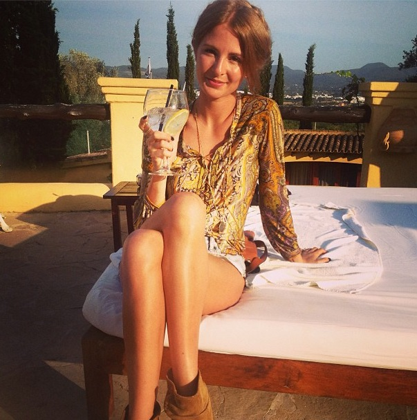 Made In Chelsea's Millie Mackintosh sips a G&T while in Ibiza - 4 jULY 2013