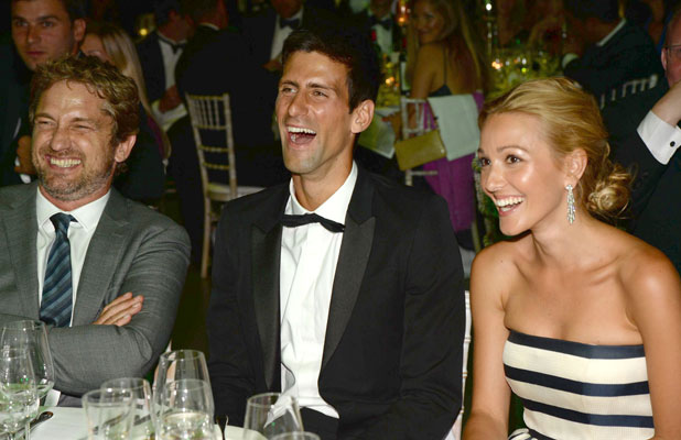 Jelena Ristic, Gerard Butler and Novak Djokovic at the Novak Djokovic Foundation - London gala dinner held at the Roundhouse, 8 July 2013
