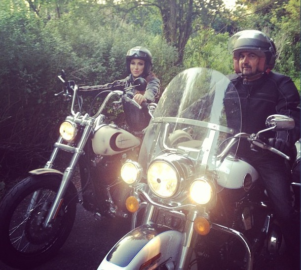 Jodie Marsh and her dad go motorbike riding together - 8 July 2013