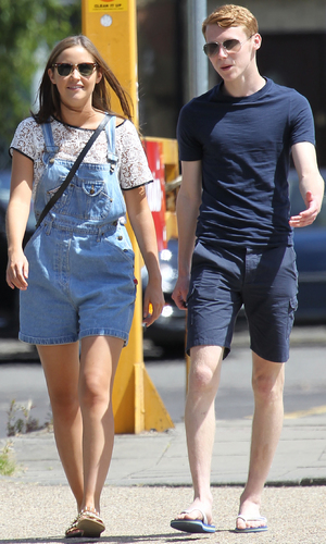 Jacqueline Jossa and Jamie Borthwick take a walk through a sunny Borehamwood after taking a break from filming 'Eastenders' - 15 July 2013