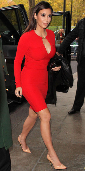 Kim Kardashian at the Dorchester Hotel, London,Britain - 09 Nov 2012.  Wearing a red dress from her collections.
