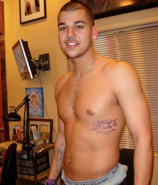 Rob Kardashian shows off tattoo of ex girlfriend Adrienne Bailon's name - 2008