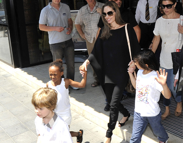 Angelina Jolie leaves the Hotel Europe with her children Shiloh Jolie-Pitt, Zahara Jolie-Pitt and Pax Thien Jolie-Pitt Sarajevo, Bosnia and Herzegovina - 08.07.12 PersonInImage: Credit :	WENN Special Instructions :	Only available for publication in the UK, USA, Germany, Austria and Switzerland. Not available for the rest of the world
