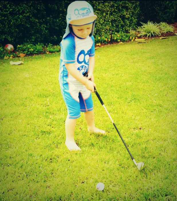 Kai Rooney practising his golf swing, Twitter picture, 16 July 2013