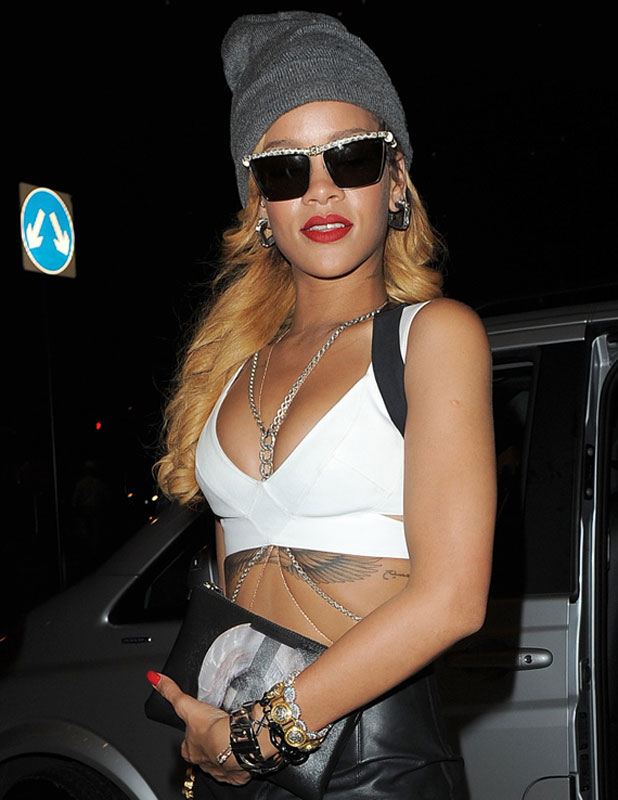 Rihanna arriving back at her hotel, following an impromptu performance at the Yahoo! Wireless Festival, 14 July 2013