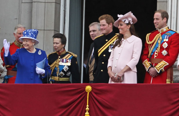 Prince Charles,Queen Elizabeth II,Prince Harry,Catherine,Duchess of Cambridge,Kate Middleton,Prince Andrew,Prince William,Duke of Cambridge,Duke of York, Trooping the Colour 2013 - The Queen's Birthday Parade - Buckingham Palace