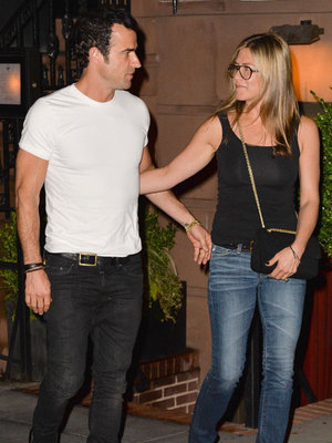 Jennifer Aniston and Justin Theroux leaving Blue Hill restaurant in the West Village. 21 July 2013
