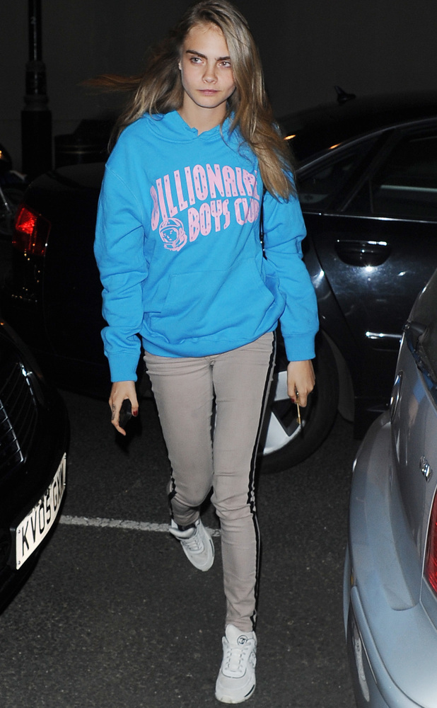 Cara Delevingne arrives at home at 5am from a dance studio in north London. Cara was seen wearing a Pharell Williams Billion dollar club jumper.