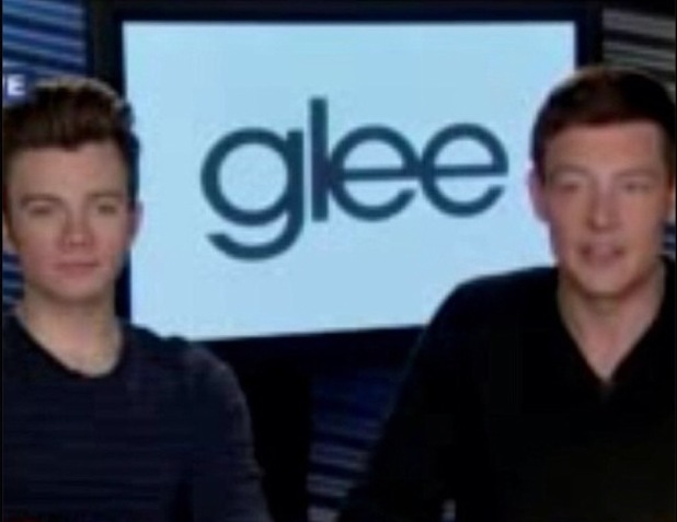 Chris Colfer and Cory Monteith during a TV interview