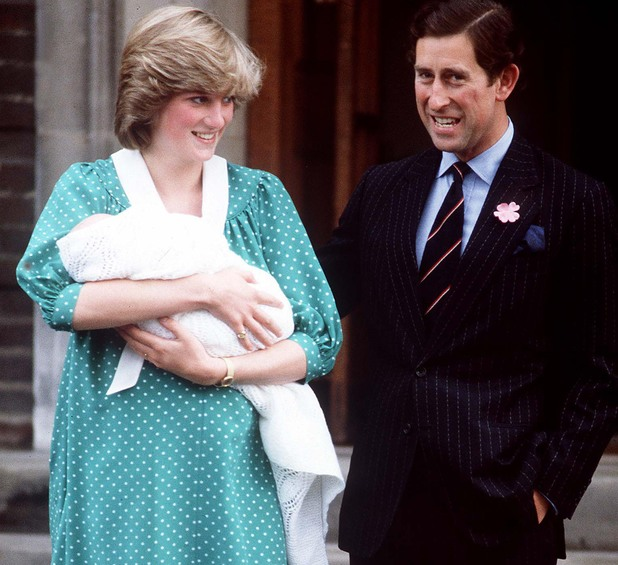 Birth of Prince William, 1982 - Prince Charles and Princess Diana pose with new baby outside St Mary's Hospital, Paddington, London 1982