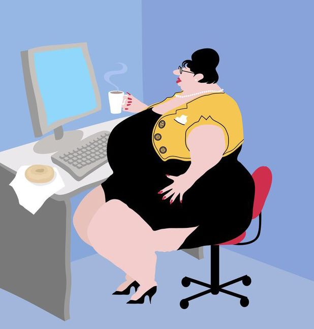 Obesity debate image of overweight woman sitting at desk