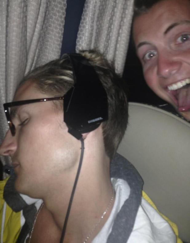 Made In Chelsea's Oliver Proudlock pictured asleep - 26 July 2013