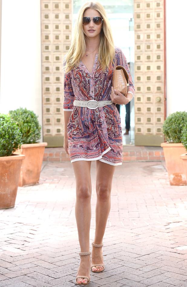 Rosie Huntington-Whiteley is seen leaving a salon in Los Angeles 25 July
