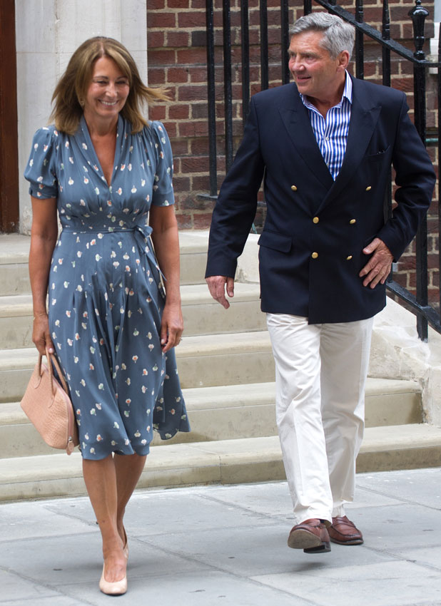 Carole and Michael Middleton visit royal baby in hospital, 23 July 2013