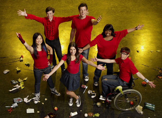 Caption:	Glee (FOX) Season 1, 2009 Shown clockwise from left: Jenna Ushkowitz, Chris Colfer, Cory Monteith, Amber Riley, Kevin McHale, Lea Michele