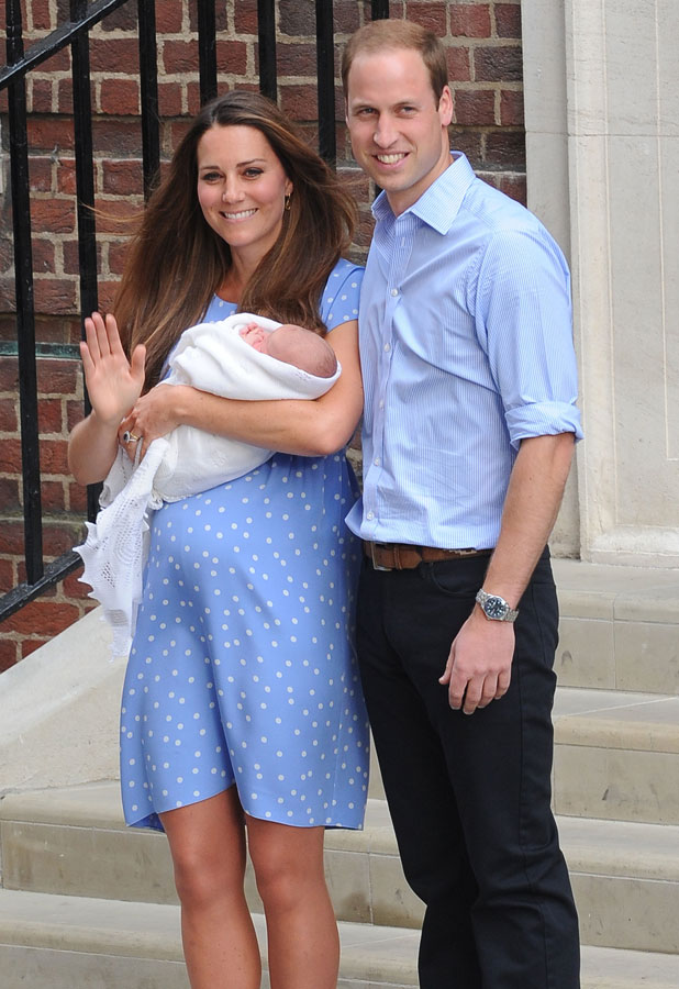 Prince William, Duke of Cambridge, his wife Catherine, Duchess of Cambridge and their new son leave The Lindo Wing at St Mary's Hospital, 23 July 2013