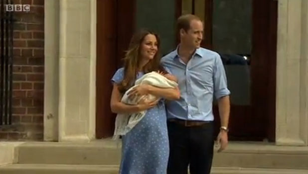 Duke and Duchess of Cambridge leave St. Mary's Hospital with son, 23 July 2013