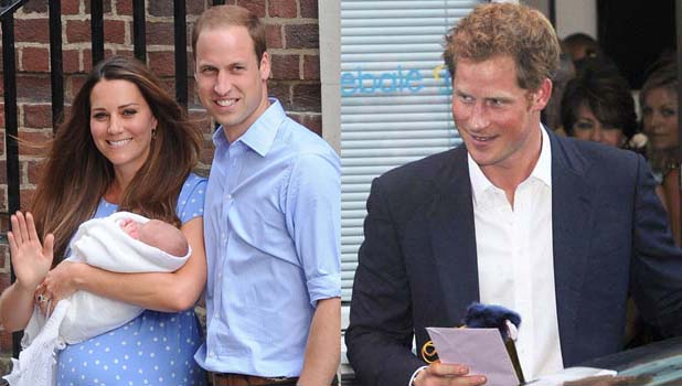 Prince William, Kate Middleton, George and Prince Harry - 26 July 2013