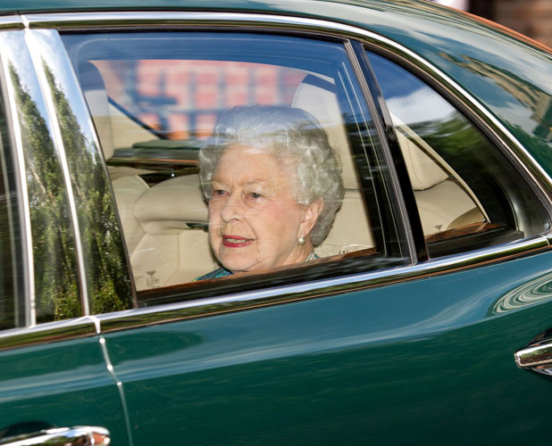Queen Elizabeth II leaving Kensington Palace after visiting her great grandson for the first time 24 Jul 2013