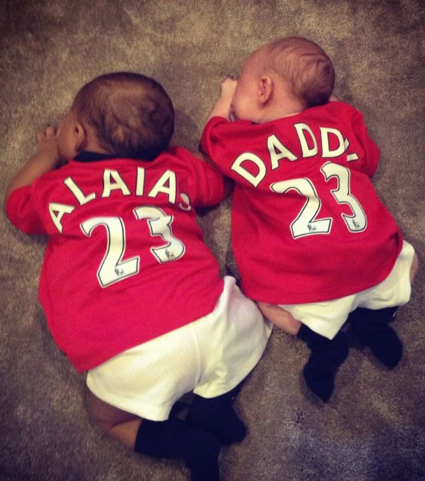 Georgina Dorsett and Rochelle Humes' babies pose in Manchester United shirts, 21 July 2013