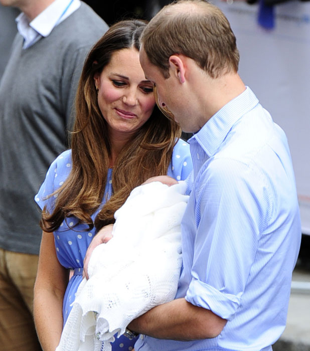 New parents PRINCE WILLIAM and CATHERINE, DUCHESS OF CAMBRIDGE left hospital with their new bundle of joy on Tuesday evening (23Jul13), a day after the royal baby arrived at London's St. Mary's Hospital.