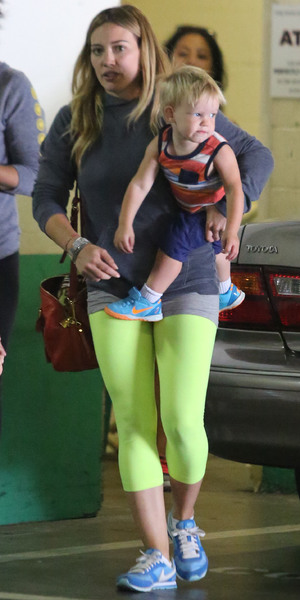 Hilary Duff takes her son Luca Comrie to the children's gym 'Fit For Kids' in West Hollywood - 31 July 2013