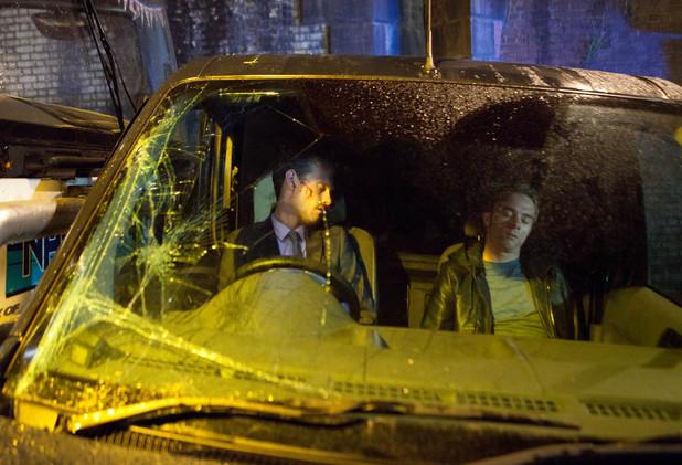 Corrie, Nick and David car crash, Mon 5 Aug