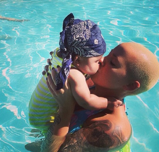 Amber Rose goes swimming with baby son Sebastian - 1 August 2013