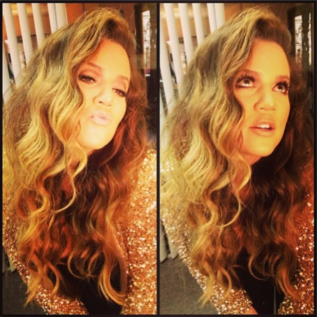 Khloe Kardashian shows off her curly hair by hairdresser Jen Atkin, Instagram, 29 July 2013