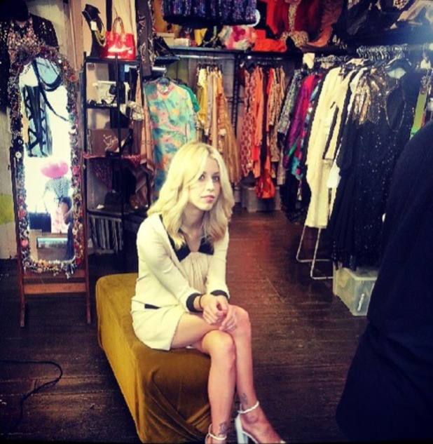 Peaches Geldof films in a vintage clothes shop, Instagram, 26 July 2013