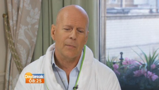 Bruce Willis appears on Daybreak in his dressing gown. 30 July 2013