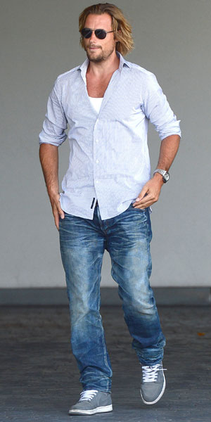 Celebrities arrive at SLS Hotel to attend Fergie's baby shower, 28 July 2013, Gabriel Aubry