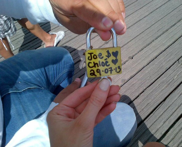 Chloe Sims and Joe Fournier's love padlock in Paris, 29 July 2013