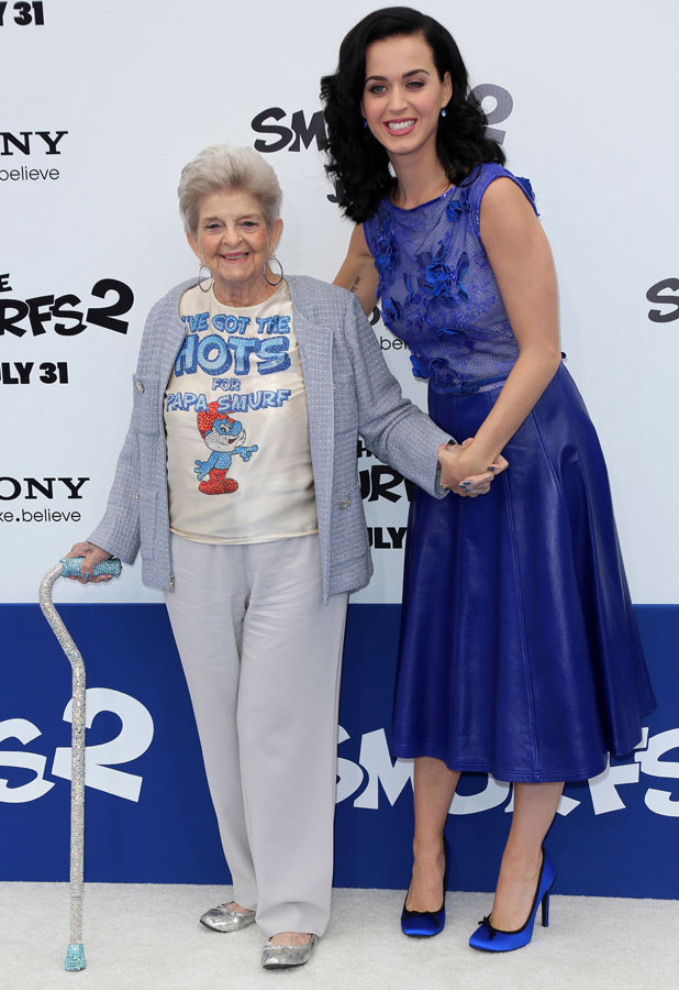The Los Angeles premiere of 'Smurfs 2' - Arrivals, Katy Perry and her grandmother, 28 July 2013
