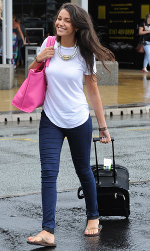 Coronation Street's Michelle Keegan arrives at Manchester Airport on a flight from Dublin, 28 July 2013