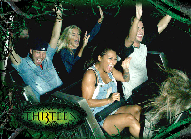 Mollie King and boyfriend Jordan Omley, and Vanessa White and boyfriend Gary Salter at Alton Towers
