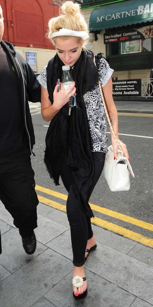 Helen Flanagan is seen arriving for filming of celebrity super spa, she was also sent flowers for her birthday which were delivered to the set in Liverpool - 8 August 2013