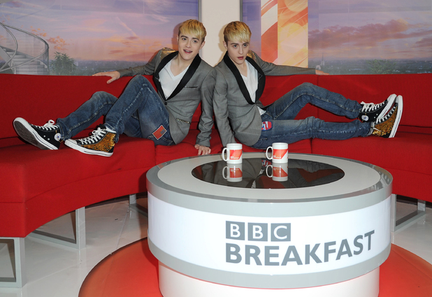Jedward visit the BBC studios in MediaCityUK, Salford, to be greeted by a crowd of fans. 6 August 2013