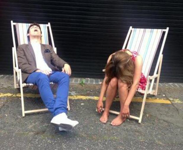 Caroline Flack and Matt Richardson take a break from Xtra Factor - 6 August 2013