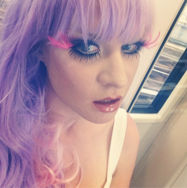Kitty Brucknell wears pink and purple wig to WAG! The Musical after party in London - 7 August 2013