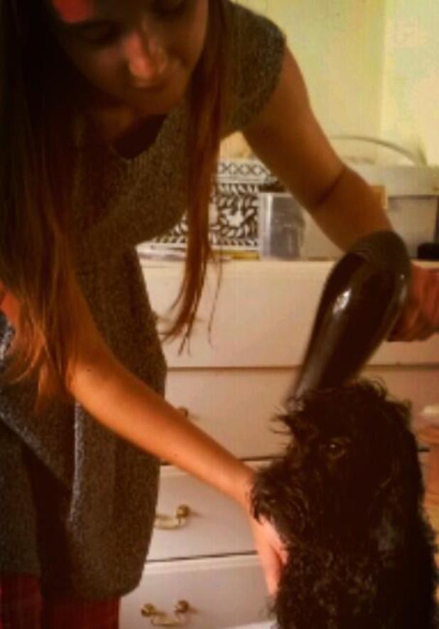 Jacqueline Jossa gives her dog Rosie a bath - 8 August 2013
