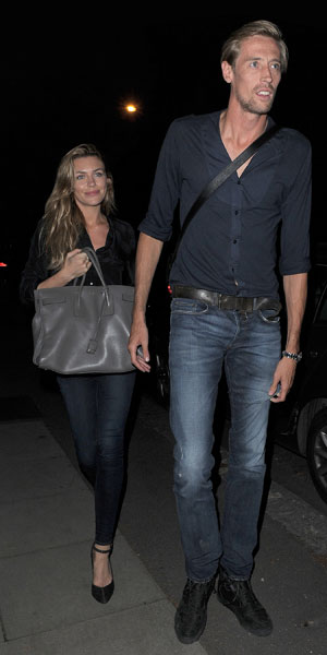 Abbey Clancy enjoys a low key dinner at Lemonia restaurant in Primrose Hill, with husband Peter Crouch, 6 August 2013
