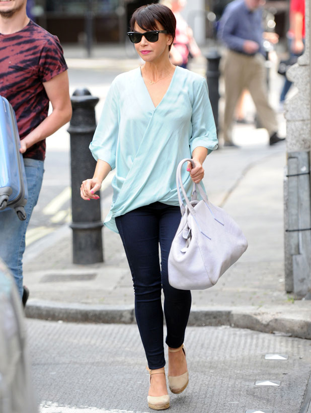 Hollyoaks star Jessica Fox spotted in London sporting a new pixie haircut. Jessica had spent the morning making an appearance on Channel 5's Wright Stuff, 8 August 2013