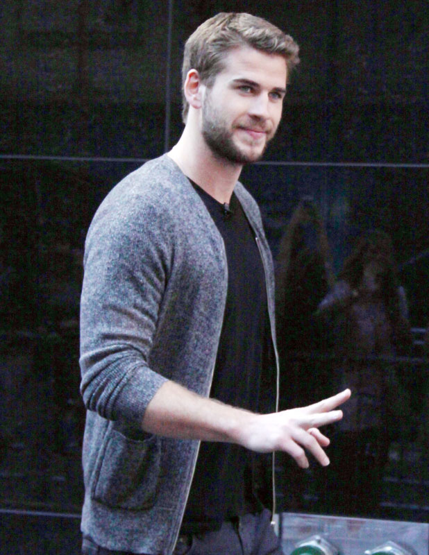 Liam Hemsworth at Good Morning America to talk about his new movie Paranoia in New York City.