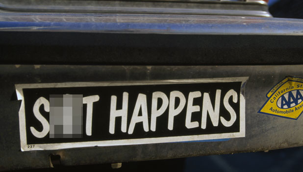 Rev Goodman in trouble for 'rude' bumper sticker - not unlike this 'S**t happens' sticker