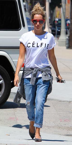 Ashley TIsdale in LA wearing slogan tee, 06/08/13