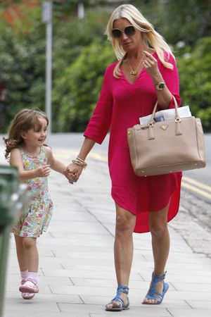 Denise Van Outen returns home with her daughter Betsy, 14 Aug 2013