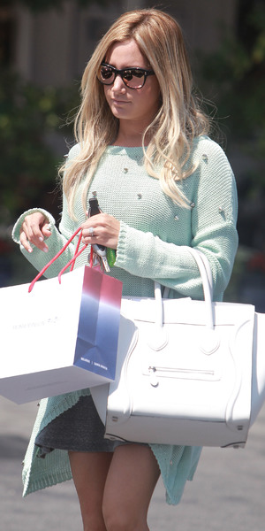 Actress Ashley Tisdale shopping with girlfriends at Fred Segal West Hollywood