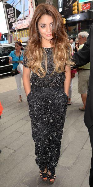Vanessa Hudgens leaving SiriusXM Radio studios, New York, 9 August